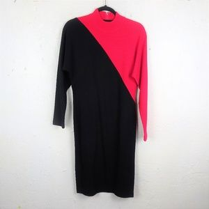 Outlander 80s Colorblock Mock Neck Sweater Dress